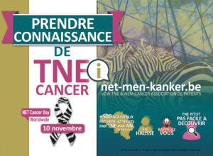 Affiche 'BEWUST WORDEN VAN NET' naar aanleiding van World NET Cancer Day op 10 november.