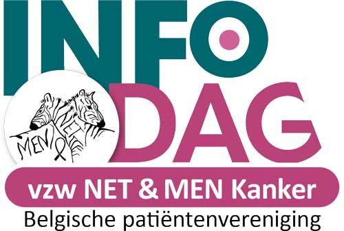 Het logobeeld INFOdag, dat staat voor informatieve activiteiten onder lotgenoten en naasten die lid zijn van vzw NET & MEN Kanker